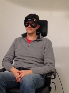 This big dork sitting in a rotating chair wearing funny goggles to measure the movement of my eyeballs as I spun.